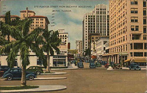 Flagler Street from Biscayne Boulevard Miami, Florida Original Vintage Postcard