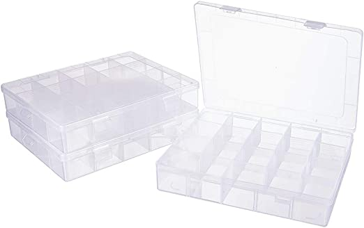PandaHall Elite 6 Pack 10 Grids 15 Grids 36 Grids Jewelry Dividers Box Organizer Adjustable 3 Styles Clear Plastic Bead Case Storage Container for Beads Small Items Craft Findings Storage