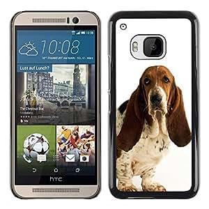 TopCaseStore / la caja del caucho duro de la cubierta de protección de la piel - Basset Hound White Dog Pet Droopy - HTC One M9