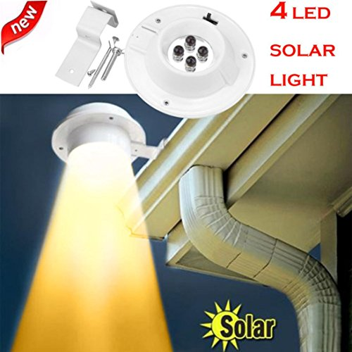 SHJNHAN New 4 LED Solar Lamp, Powered Gutter Light Outdoor Garden Yard Wall Fence Pathway Lamp