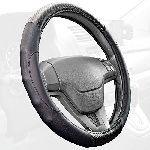 Motor Trend GripDrive Carbon Fiber Series - Steering Wheel Cover - Synthetic Leather w/Traction Grooves (Black)