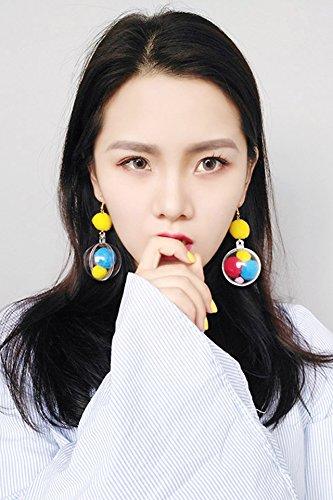 Korean Women Girls Fashion Earrings earings Dangler Eardrop Personalized Candy Ball Disco Fun Hair Long Exaggerated Ear Jewelry
