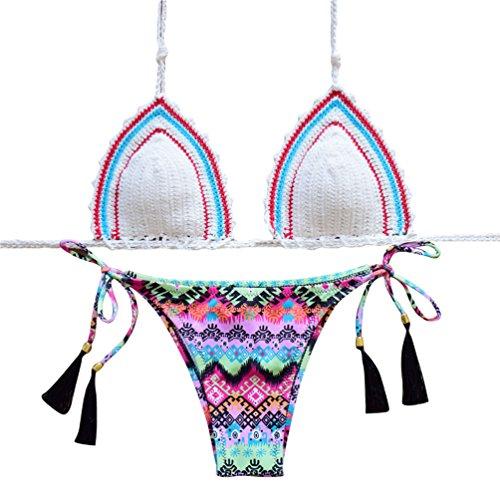WanYang Mujeres Hechas A Mano de Ganchillo Beach Swimsuit De Bikini Traje De Baño #-2