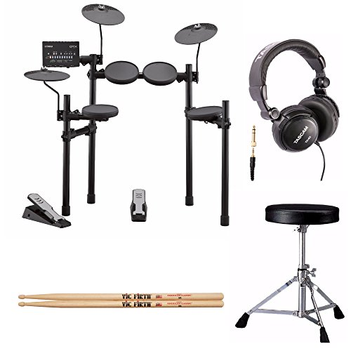 Yamaha DTX402K Electronic Drum Set with Drum Throne, Drumsticks and Stereo -