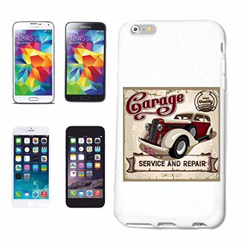 """cas de téléphone iPhone 6S """"SERVICE ET ATELIER DE RÉPARATION DE VINTAGE HOT ROD CAR US Mucle CAR V8 ROUTE 66 USA AMÉRIQUE"""" Hard Case Cover Téléphone Covers Smart Cover pour Apple iPhone en blanc"""
