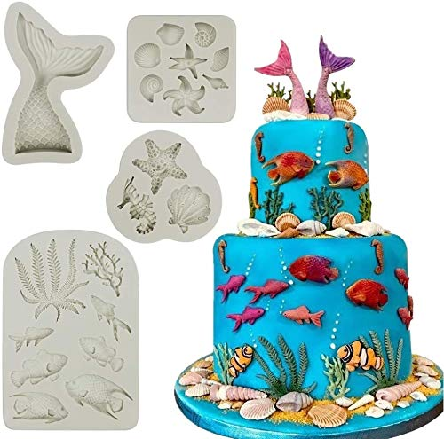 Koogel 21pcs Marine Theme Fondant Silicone Mold,Mermaid Chocolate Mold Mermaid Tail Mold Seahorse Dolphin Seashell Starfish Mold for Cake Decoration Candy Polymer Clay Sugar Craft