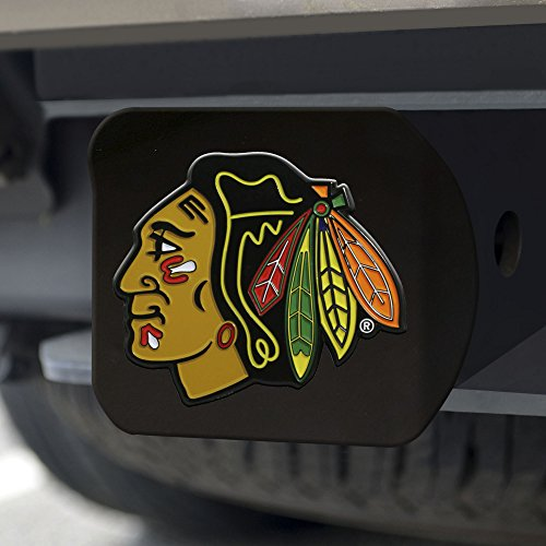 FANMATS NHL Chicago Blackhawks NHL - Chicago Blackhawkscolor Hitch - Black, Team Color, One Size - Nba Trailer Hitch Cover