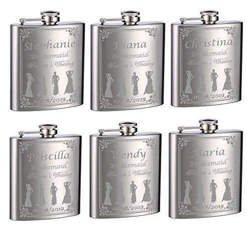 Wedding Flasks for Bridesmaids and Bride, 6 Pack of 6oz Flasks, Personalized ()