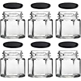 Rentra S.P.A. Empty Refillable Mutlipurpose Hexagonal Cosmetic Glass Pot Mason Jar with Black Lid for DIY Gifts Cosmetics Creams Balms Face Scrub Face Cream Body Cream for home Beauty Parlour 45ml