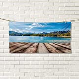 Mountain,Hand Towel,Snowy Mountain Tops from Old Wood Deck Pier by Sea Idyllic Calm Coastal Charm,Quick-Dry Towels,Blue Brown Size: W 20'' x L 20''