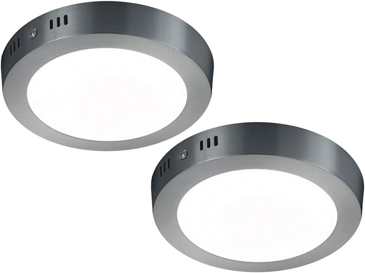 LED Deckenleuchte Deckenlampe CENTO Nickel matt Acryl weiß Ø 22,2 cm