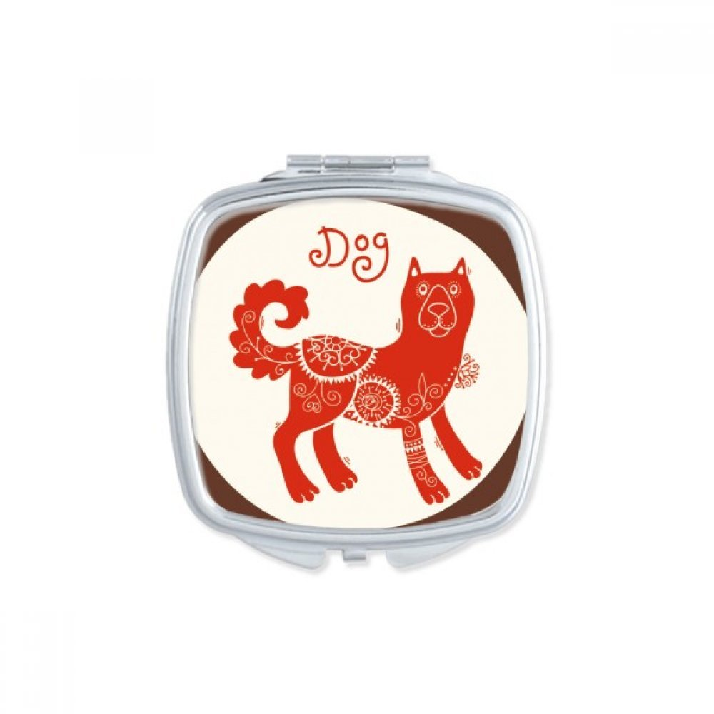 DIYthinker Year Of Dog Animal China Zodiac Red Square Compact Makeup Mirror Portable Cute Hand Pocket Mirrors Gift