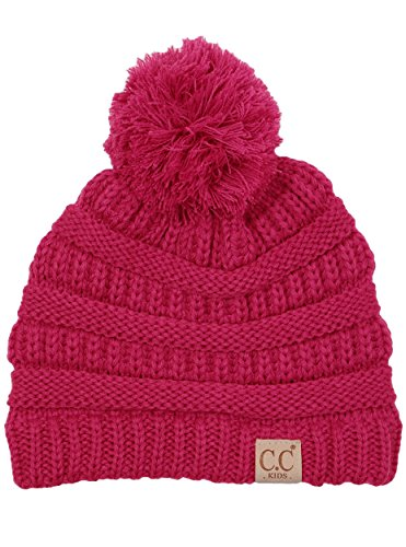 er Hat Warm Knit Slouchy Toddler Kids Pom Beanie - Hot Pink ()