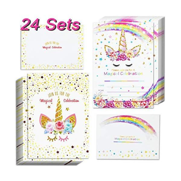 Invitaciones de unicornio con 24 sobres y etiquetas de agradecimiento de unicornio, diseño de unicornio con purpurina y unicornio para cumpleaños, fiestas de niños, cumpleaños, baby shower, regalos de unicornio de doble cara