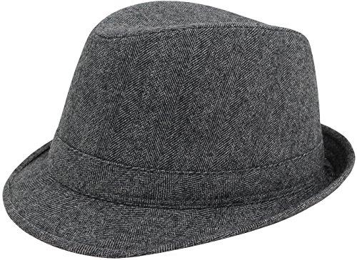 Unisex Freizeit Fedora Hut mit Zierband Grau S/M