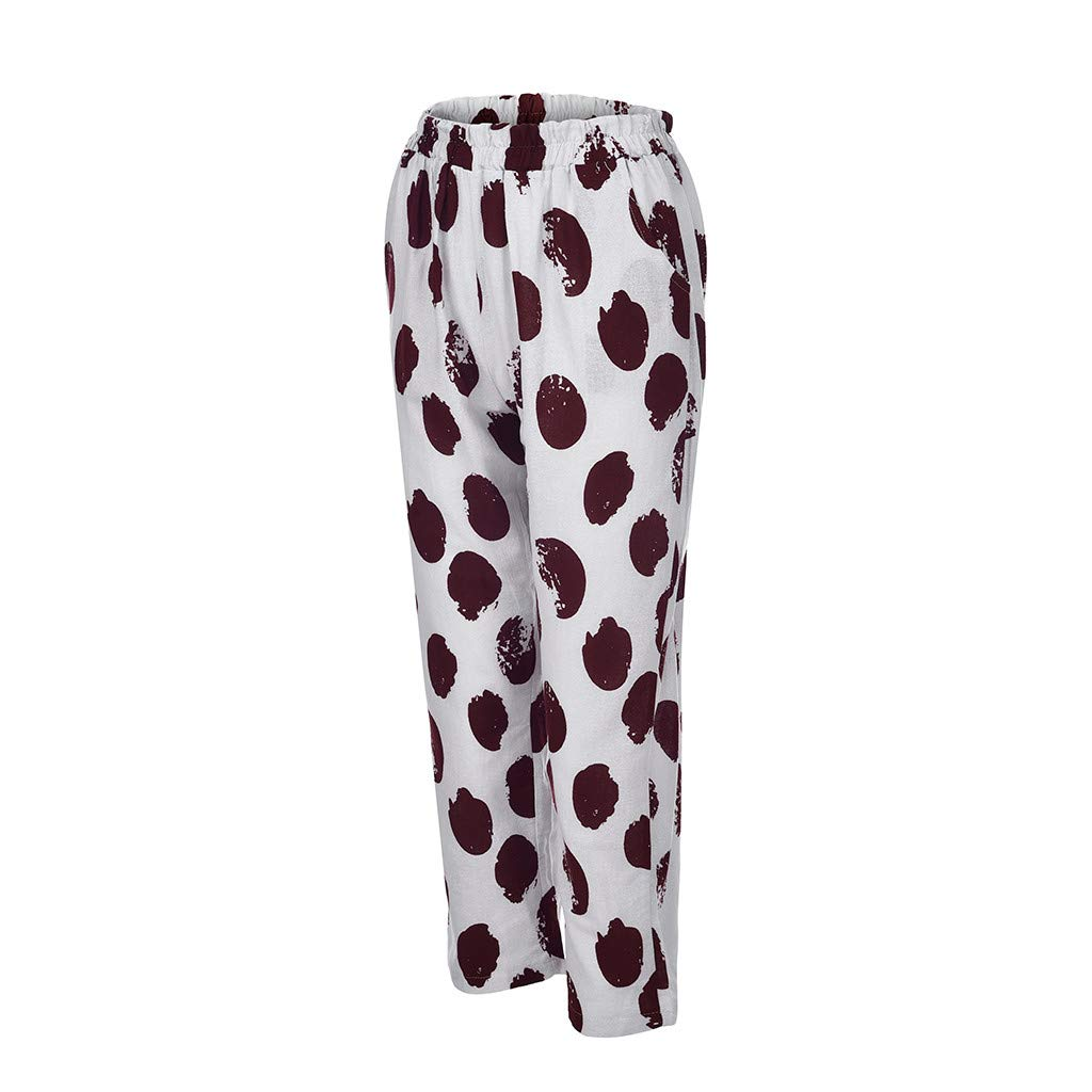 Behkiuoda Women Summer Pants Printed High Waist Cotton Linen Loose Casual Pants with Pockets Trouser