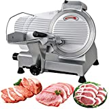 SUPER DEAL Stainless Steel Electric Meat Slicer 10'' inch Blade Home Kitchen Deli Meat Food Vegetable Cheese Cutter Thickness Adjustable Spacious Sliding Carriage, 240W 530 RPM