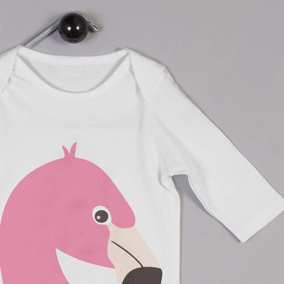 Newborn Baby Boys Girls Cotton Long Sleeve Minimal Flamingo Cartoon Climb Romper Funny Printed Romper Clothes