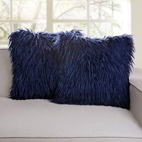 Phantoscope Set of 2 Navy Blue Decorative New Luxury Series Merino Style Fur Throw Pillow Case Cushion Cover 18