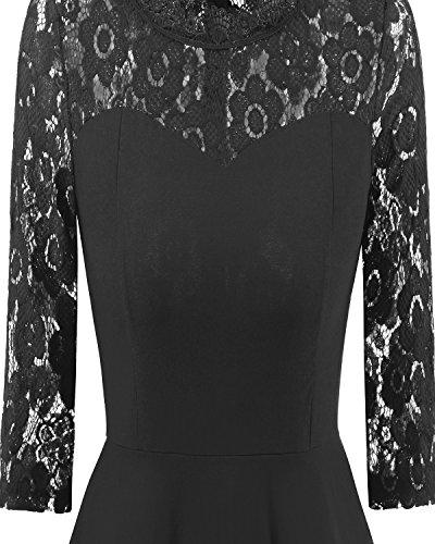 Aecibzo Cru Demi-manches Cocktail En Dentelle Florale Robe De Soirée Noire Plissée Balançoire Femmes
