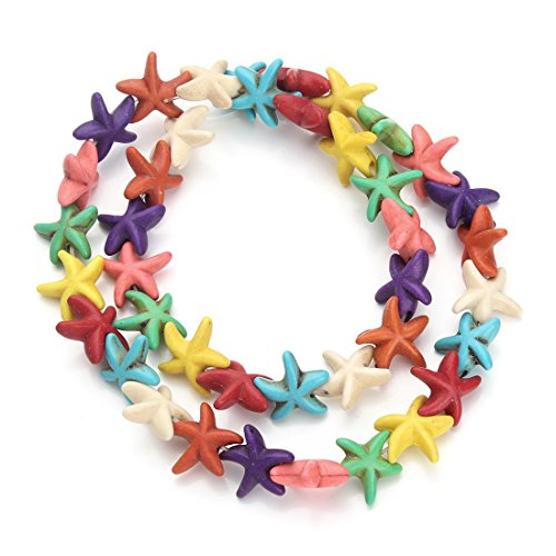 Fish Beads Cute (Linsoir Beads Assorted Colors Howlite Starfish Beads Loose Gemstone Star Fish Nautical Beads for Girls Approx.38pcs/strand 1.3cmX1.3cm)