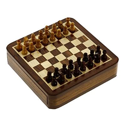 Small Wooden Board Game Magnetic Chess and Pieces with Sliding Storage 5 x 5 Inches