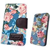 iphone 4 4S Luxury Vintage Shabby Chic Cute Flowers Floral Designer Purse Pouch Wallet Case -Tpu leather Floral Blue + Free Floral Blue case to Match the Purse
