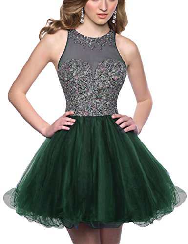 Dark Green Jewel (OYISHA Womens 2016 Homecoming Dresses Jewel Beaded A-line Prom Dress Short TH38 Dark Green)