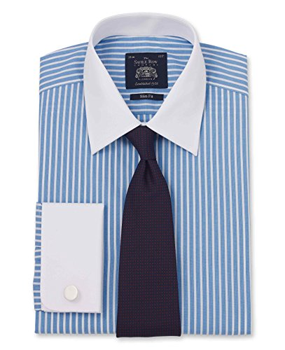 Savile Row Men's Blue Wide Reverse Stripe Slim Fit Shirt - French Cuff 16