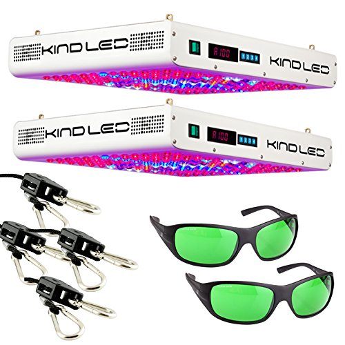 Kind K5 XL750 LED Grow Light (2 pack) with Ratchet Light Hangers (2 pack) and Method Seven LED Glasses (2 pack)