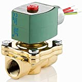ASCO 8210B059-120/60,110/50 Brass Body Pilot Operated General Service Solenoid Valve, 1-1/2'' Pipe Size, 2-Way Normally Open, Nitrile Butylene Sealing, 1-1/4'' Orifice, 22.5 Cv Flow, 120V/60 Hz, 110V/50