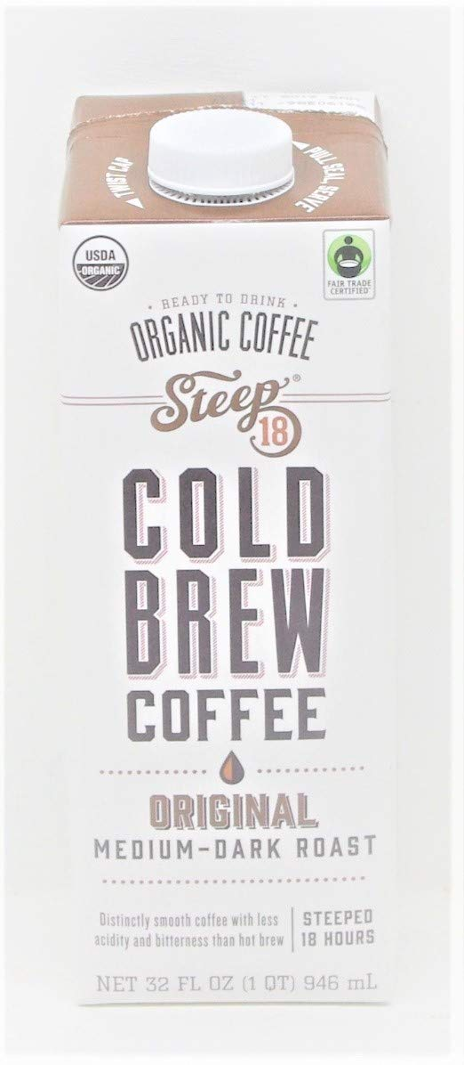 Steep Ready to Drink Cold Brew Organic Coffee 1 Qt Carton - Original Medium-Dark Roast