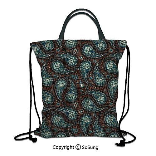 Paisley Decor 3D Print Drawstring Bag String Backpack,Modern Mosaic Like Circled Design with Teardrop Shaped Artwork,for Travel Gym School Beach Shopping,Brown Blue and Dark Blue