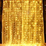 indoor icicle lights led - Window Curtain String Lights,300 LED Icicle Fairy Twinkle Starry Lights-UL Listed for Indoor and Outdoor, Wedding, Christmas, Party, Garden Home Bedroom Wall Decoration (9.8ftx9.8ft, Warm White)