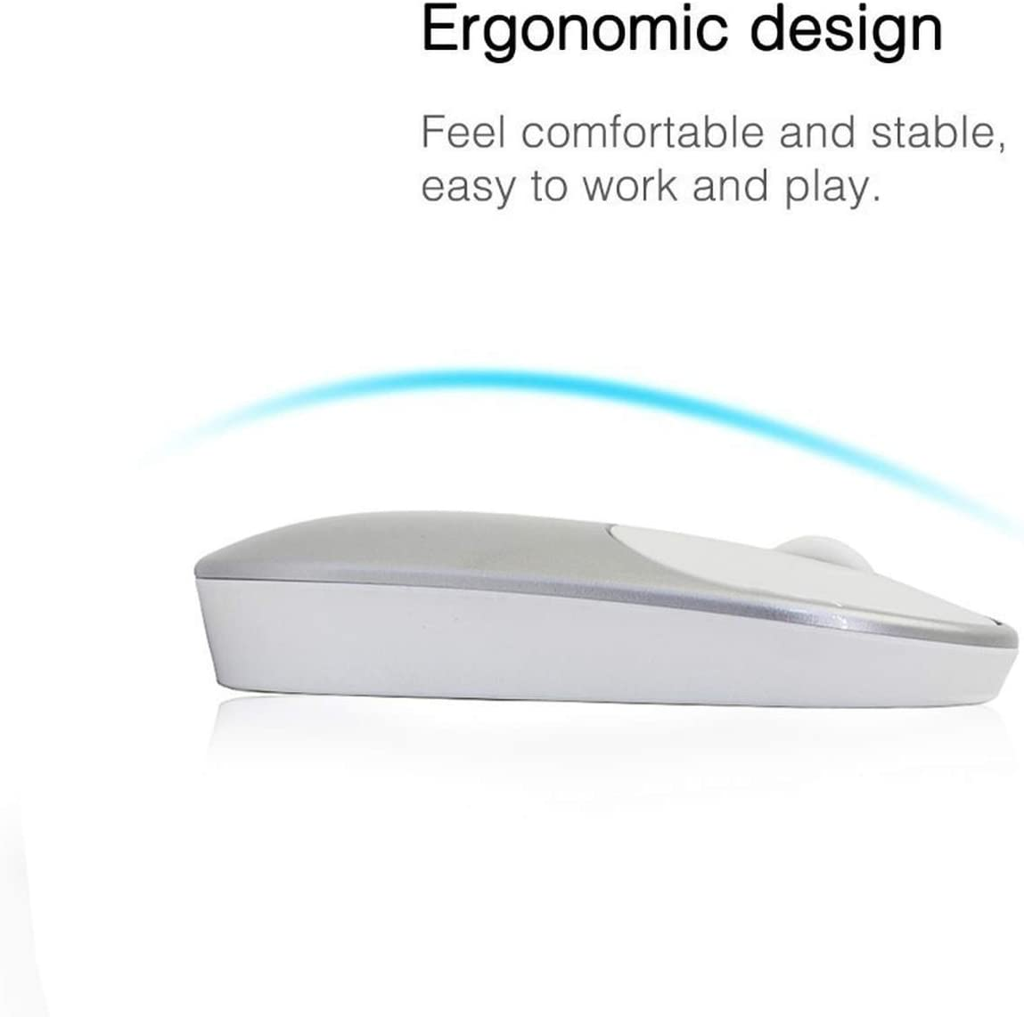 Mini Wireless 2.4G Silent Mouse Ultra-Thin Optical 1200DPI Ergonomic Mause Slim Office Computer Pc Portable Game Mice for,Silent Wireless