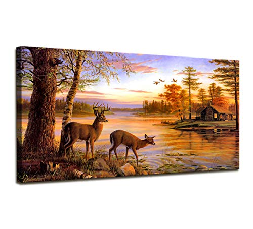(Wall Art for Living Room Deer Wall Decor Animal Whitetail Deer In Dusk Landscape Vintage Photo Canvas Print Large Modern Framed Canvas Painting Wall Art For Bedroom Home Office Decoration 24 x 48 Inch)