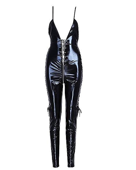 8de1374e767f1 ANEMEL Women's Leather Lingerie Bodysuit Deep V Neck Lace Up Backless Wet  Look Catsuit Open Crotch