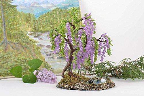 Handmade Designer Decorative Tender Violet Beaded Tree Blooming Wisteria With Swans (Swan Topiary)