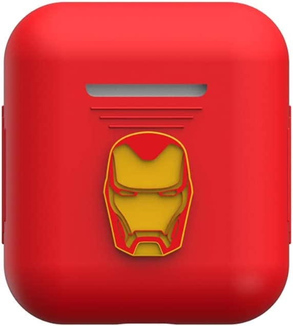 TinPlanet Marvel Avengers Series Protective Silicone Case Compatible with Apple Airpods 1 & AirPods 2 [Front LED Not Visible], Iron Man (Red)