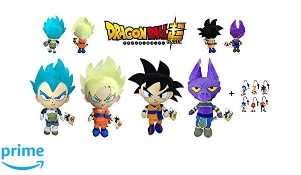Dragon Ball Super - Pack 4 Peluches 30cm Calidad Super Soft Goku - Goku Super Saiyan (Rubio) - Vegeta Ulta Instinto (Azul) - Dios Beerus (Gato Lila) + 1 ...
