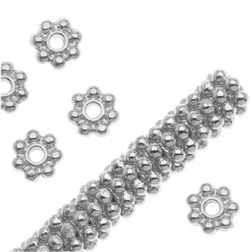 TierraCast Bright Silver Plated Pewter Daisy Spacer Beads 4mm -