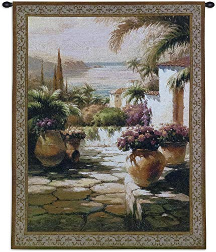 Courtyard View I | Woven Tapestry Wall Art Hanging | Contemporary Tuscan Villa Harbor Mediterranean Seascape | 100% Cotton USA Size 53x38