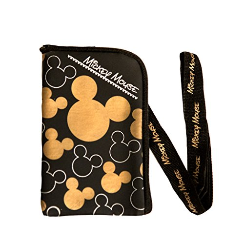 Price comparison product image Disney Mickey Mouse Black Gold Lanyard with Cell Phone Case or Coin Purse (1 Lanyard)