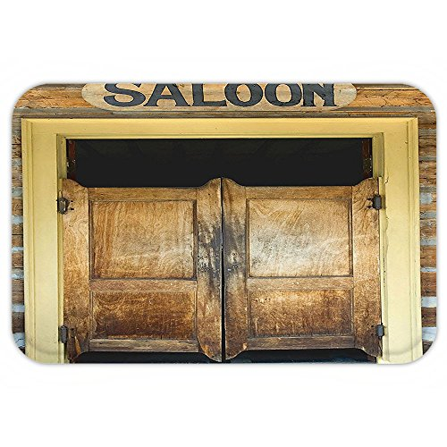 VROSELV Custom Door MatSaloon Decor Collection Authentic Saloon DoorOf Old Western Building In Montana Ghost Town Image Print Sienna Cream (Sienna Authentic Leather)