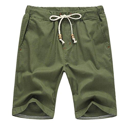- vermers Hot Sale Men Summer Short Pants Linen Cotton Solid Beach Casual Elastic Waist Classic Fit Shorts(3XL, Green)