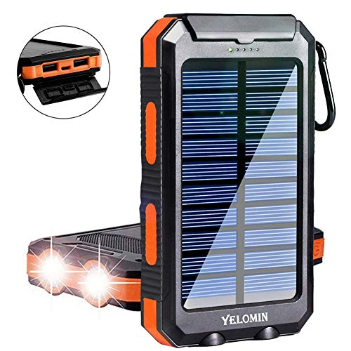 Solar Charger Yelomin 20000mah Portable Outdoor Waterproof Mobile Power Bank Camping External Backup Battery Pack Dual Usb 5v 1a 2a Output 2 Led Light Flashlight With Compass For Tablet Iphone Android