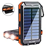 Solar Charger,Yelomin 20000mAh Portable Outdoor Waterproof Mobile Power Bank,Camping External Backup Battery Pack