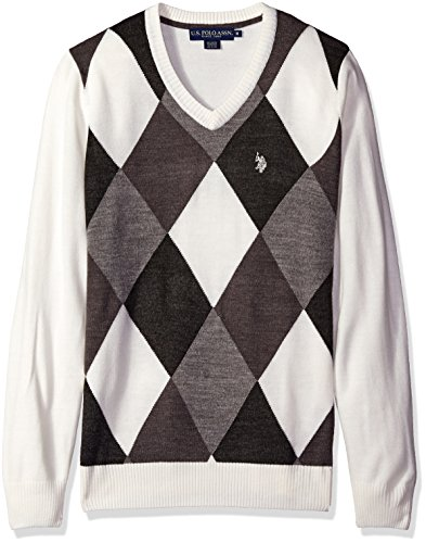 U.S. Polo Assn. Men's Argyle V-Neck Sweater, Winter White, Small by U.S. Polo Assn.