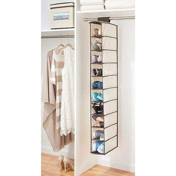 MetroDecor mDesign Juego de 2 Muebles zapateros para Colgar - Organizador de Zapatos para Armario con 10 Compartimentos - Estanterías para Zapatos, ...