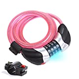 Promithi Bike Cable Lock with LED Light 4 Digit Resettable Combination Lock with Free Mounting Bracket 4 Feet X 1/2 Inch (Pink) Review